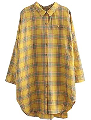 Mordenmiss Women's Long Sleeve Cotton Plaid Shirt Loose Fit Checked Blouses