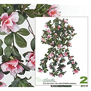 """TWO 30"""" Artificial Azalea Hanging Flower Bushes _pink Cream, with No Pot, 11"""