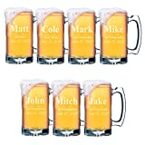 Set of 4, Set of 8 and more Custom Engraved Groomsmen 25 oz Beer Mugs - Personalized Wedding Party Gifts - 3 Lines Style (7)