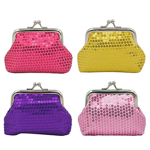 (iSuperb Coin Pouch Purse 4 Packs Cute Canvas Gift Jewelry Trinkets Pouch Clasp Closure Wallet Assorted Colors (4 PCS Sequins Coin Pouch))