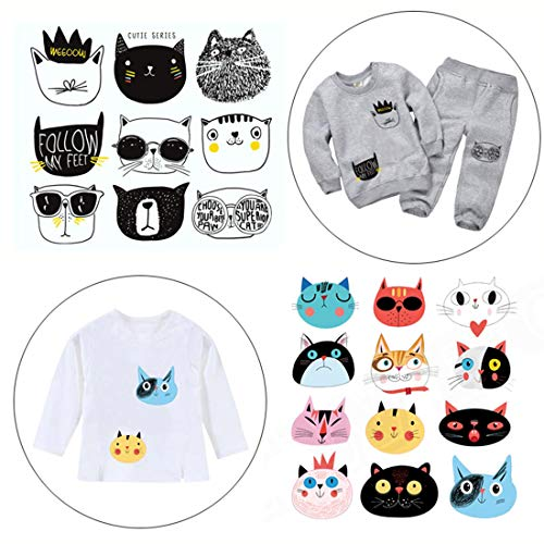 FineInno 2 Packs DIY Iron-on Transfers Cute Cat Animal Patches Appliques Vinyl Washable Sticker Decals Heat Thermal Transfers Printed Decor Accessories Kit for T-Shirt, Jeans, Bags, Hats (Cute cat)