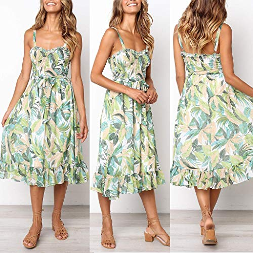 1eece9a9094b Tronet Summer Casual Dresses,Womens Floral Leaf Printed Off Shouder Dress  Sling Summer Beach Lace Up Dress