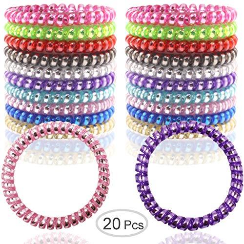 20 Pcs Spiral Hair Ties No Crease, Fluorescent Series Spiral Telephone Hair Ties Colorful Hair Accessories(10 Pair) ()