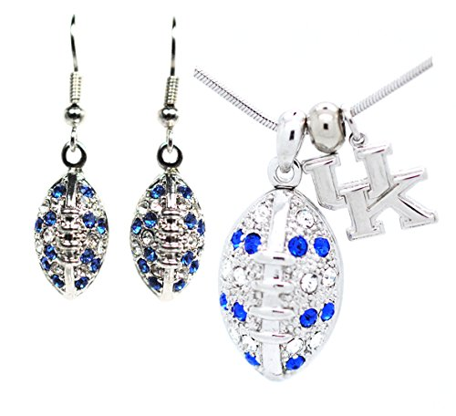 Kentucky Football Necklace and Earring SET - Blue and Clear Crystals - WILDCATS