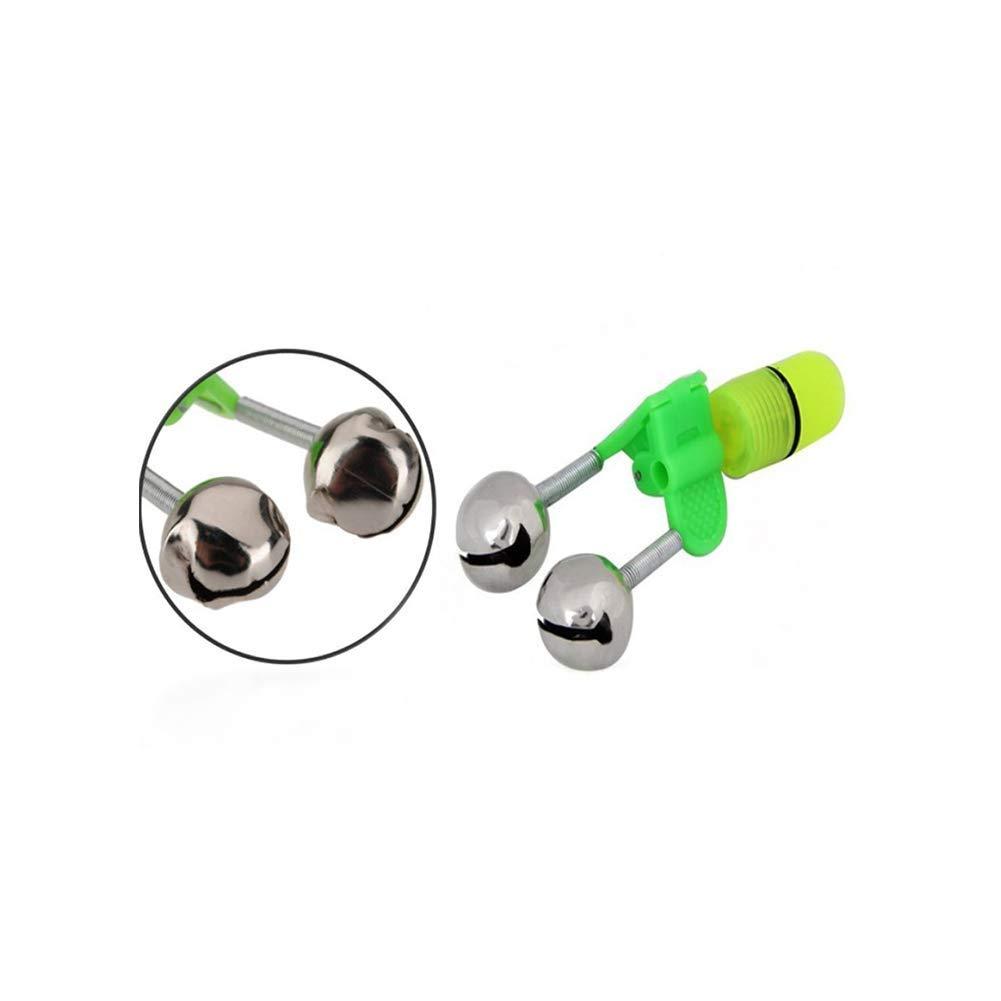 Ogquaton Canne /à p/êche clochettes sonores pour la p/êche avec Clip en Plastique Double Cloche de p/êche en m/étal Vert Argent 20 Pcs Durable et Pratique
