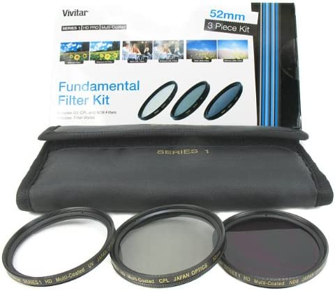 52mm UV//CPL//ND8 Vivitar Series 1 3-Piece Multi-Coated HD Pro Filter Set