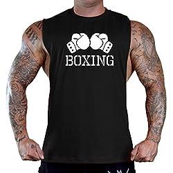 Men's Boxing Gloves V434 Black Sleeveless T-Shirt Tank Top Large Black