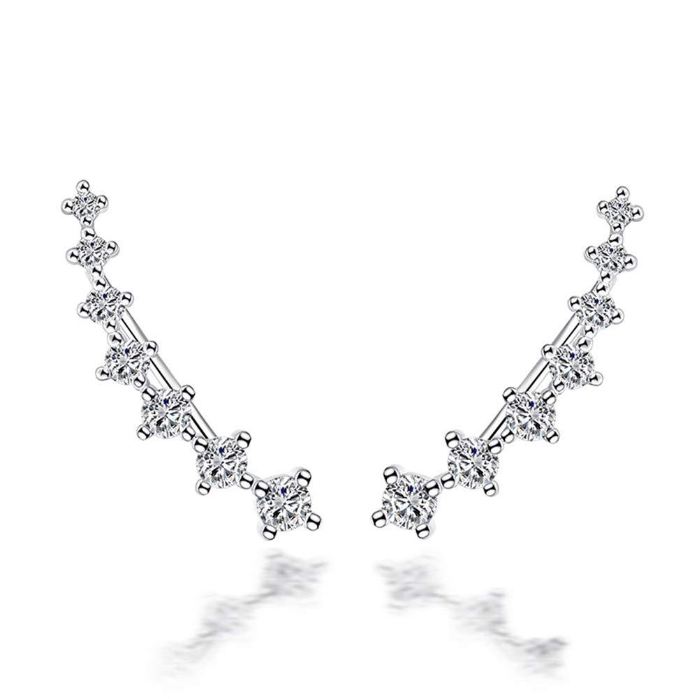 Crystals Ear Cuffs Hoop Climber S925 Sterling Silver Four-jaw Seven Stars Earrings Hypoallergenic Earring