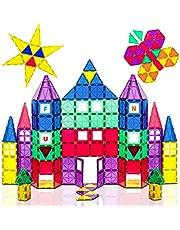 Playmags 3D Bloki magnetyczne dla dzieci - 100 bloków Zestaw do nauki kształtach, kolorach i alfabetów - STEM magnetyczny Zabawki pomóc w rozwoju motorycznych i kreatywność - Kolorowe i Trwały magnes Building Tiles & Idea Book
