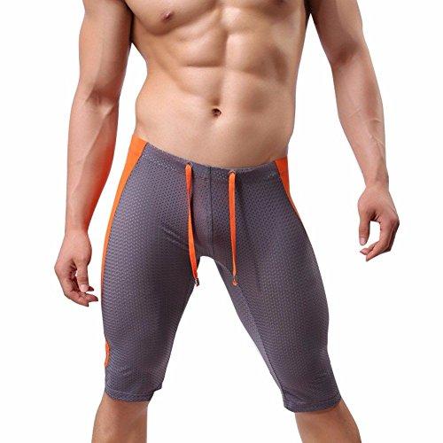 Feeshow Mens Stretch Workout Gym Sports Fitness Tights Shorts Pants, Gray, X - Large(Waistline:31.0 - 42.5 inch/78 - - Underwear Daisy Bikini