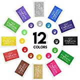12 Color Craft Ink Pad Rubber Stamps Partner Set Washable for Stamping Teachers Kids Baby Prints Scrapbooking Fingerprinting Card Making