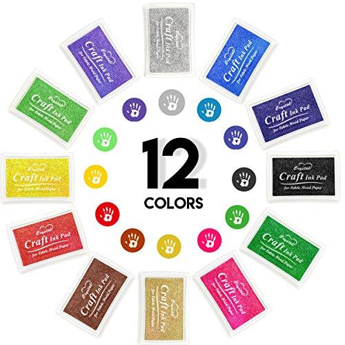 12 Color Craft Ink Pad Rubber Stamps Partner Set Washable for Stamping Teachers Kids Baby Prints Scrapbooking Fingerprinting Card Making