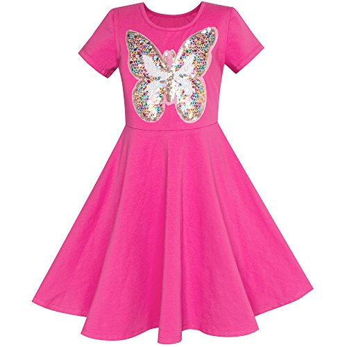 Sunny Fashion LY12 Girls Dress Deep Pink Sequin Cotton Dress Size 6