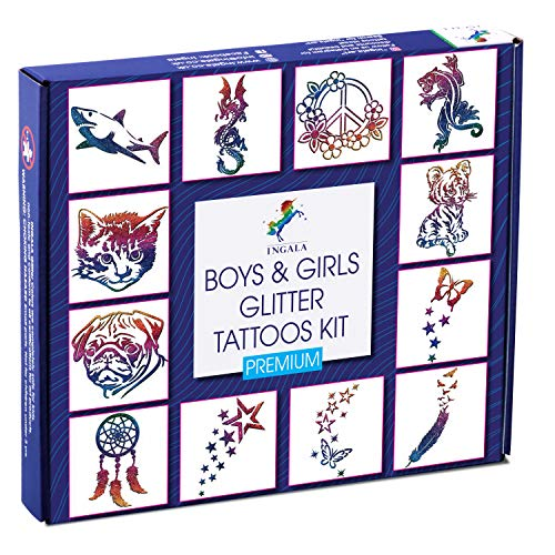 Ingala Premium Glitter Tattoo Kit for Boys and Girls | Unique Professional Glitter Tattoos for Kids and Adults | 74 Amazing Glitter Tattoo Stencils | 2 XL (0.5fl oz) Glitter Tattoo Glue