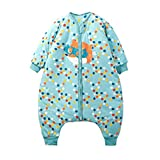 HUYP Split Leg Sleeping Bag Autumn and Winter Thickening Baby Child Child Baby with Sleeve Double Zipper Anti-Kick (Size : L)