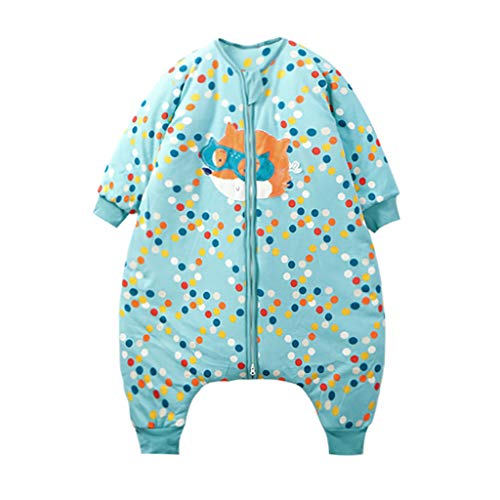 HUYP Split Leg Sleeping Bag Autumn and Winter Thickening Baby Child Child Baby with Sleeve Double Zipper Anti-Kick (Size : XXL) by Baby Sleeping Bag (Image #5)