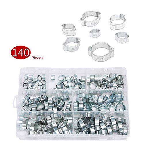 Kul-Kul - 140PCS Assorted Double Ear O Clips Steel Zinc Plated Hydraulic Hose Fuel Clamps For Hydraulic Hose Fuel