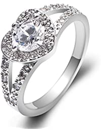 Platinum Plated Heart White Cubic Zirconia Princess Cute Wedding Promise Ring for Women