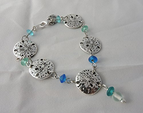 Colors of the ocean beads and Sand dollar charm bracelet. from TJs Crafts And More