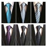 WeiShang Lot 6 PCS Classic Men's 100% Silk Tie Necktie Woven JACQUARD Neck Ties (Style 16)