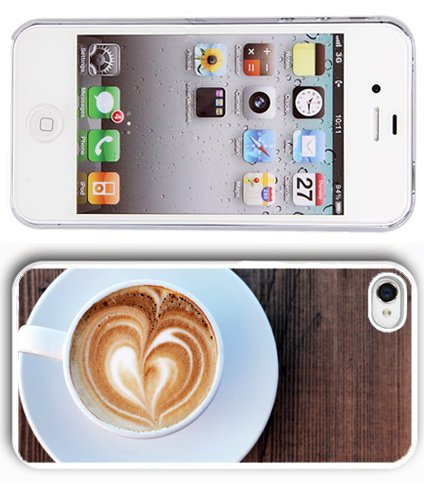 Apple iPhone 5 5S White 5W210 Hard Back Case Cover Color Cup of Coffee Cappucino Heart Foam