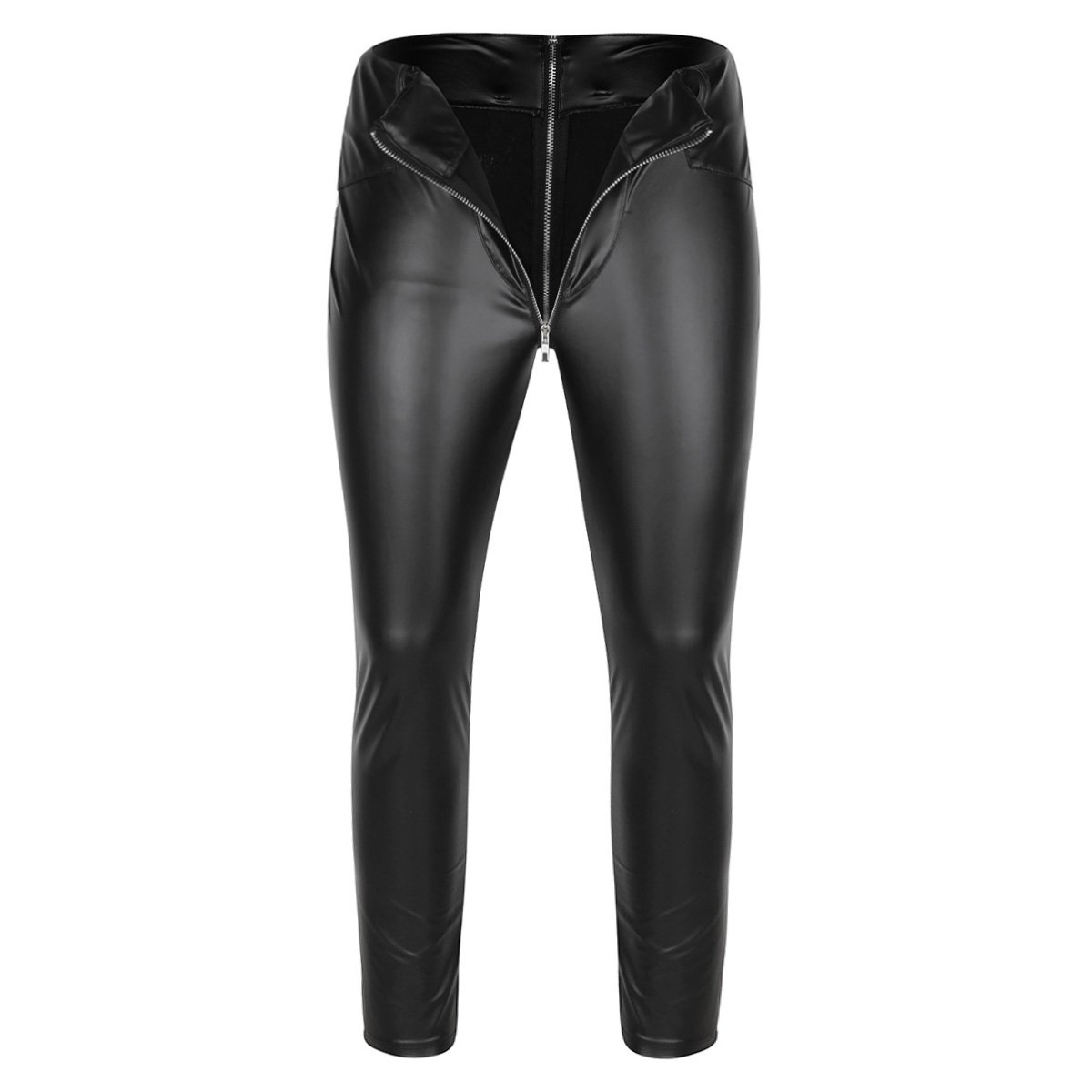 CHICTRY Men's Faux Leather Wetlook Tight Pants PVC Long Trousers with Zipper Crotch