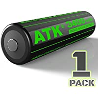 ATK 3.7v 18650 Battery | Built-in PCB Protection Board | 3400 mAh Li-ion Rechargeable Batteries by ATK