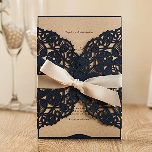 (WISHMADE 1PC Navy Blue Laser Cut Invitation Card Stock with Envelopes, Blank Invitations Printable, for Wedding Bridal Shower Engagement Birthday Anniversary Party Quinceanera)