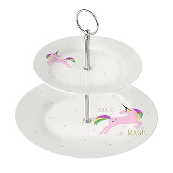 Etagere / Einhorn Etagere In Weiß U0026 Pink   2 Stöckig   Material Porzellan
