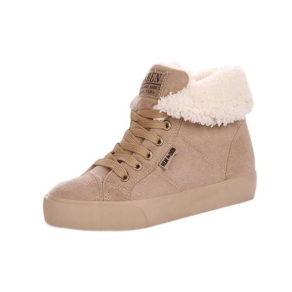 Minetom Bottes pour Femme Hiver Automne Chaudes Laçage Chaussures Flats 3f7zi0BUcX