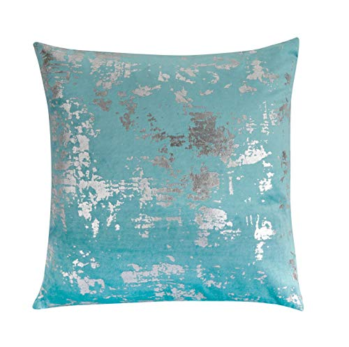 Forest & Twelfth Home Velvet Throw Pillows-Decorative Metallic Printed Throw Pillows for Living Room & Bedroom with 100% Polyester Filling-Cotton Blend Home Decor Pillows (Teal/Silver, 16 x 16) ()