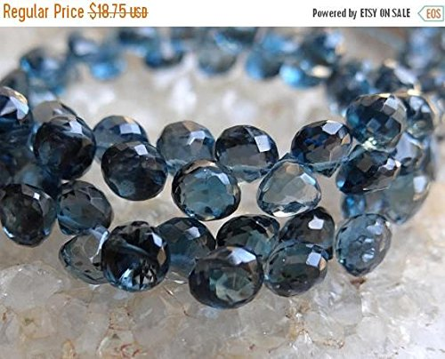 Semi Precious AAA London Blue Topaz | Faceted Onion Candy Kiss Briolettes | ~4.5x5.5mm | Sold in Sets of 4 Briolettes