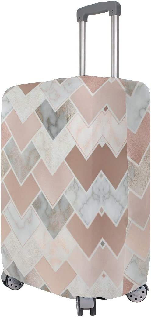 Rose Gold Marble Geometric Travel Suitcase Protector Zipper Suitcase Cover Elastic