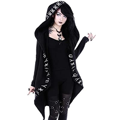 Gothic Decor, MILIMIEYIK Cardigan Jacket Women Plus Size Hooded Coat Long Sleeve Punk Moon Print Black Cloak: Clothing