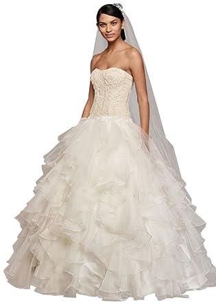 David\'s Bridal Petite Organza Ruffle Skirt Wedding Dress Style ...