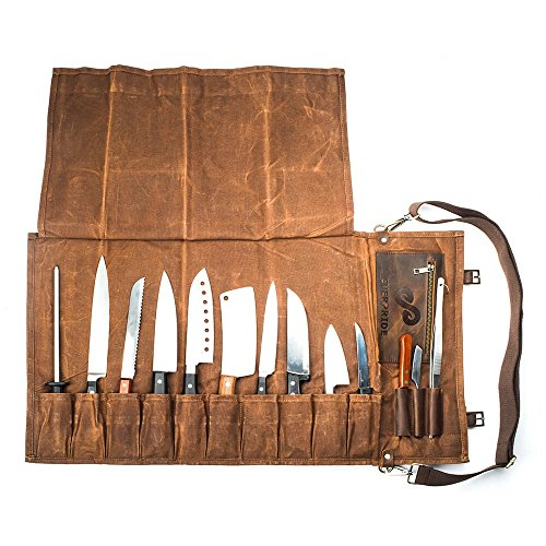Chef's Knife Roll Up Storage Bag (13-Pocket) | Stores 10 Knives, 3 Kitchen Utensils PLUS a Zipper | Easily Carried by Handle or Shoulder Strap | For Professional Sous Chefs