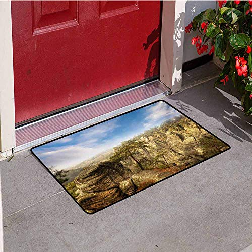 Jinguizi Nature Front Door mat Carpet Wonders of The World National Park Rock Formation Czech Image Machine Washable Door mat W31.5 x L47.2 Inch Sky Blue Tan Cream Olive Green
