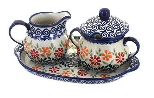 Blue Rose Polish Pottery Garden Bouquet Sugar & Creamer with Tray ()