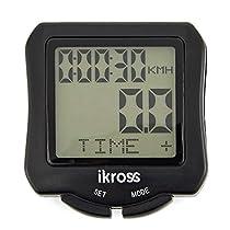 iKross Kabelloses Wasserdichtes Fahrrad Odometer Fahrradcomputer - Schwarz