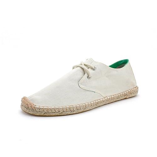 Alpargatas Zapatos con Cordones Lona Beige para Hombre Linen Espadrilles: Amazon.es: Zapatos y complementos