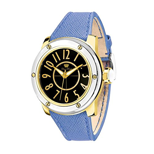 Glam Rock Women's Aquarock 42mm Blue Leather Band Gold Plated Case Quartz Black Dial Watch GR50010F-N