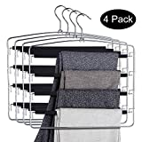 DOIOWN Pants Hangers Slacks Hangers Space Saving Non Slip Stainless Steel Clothes Hangers Closet Organizer Pants Jeans Trousers Scarf (4-Pack)