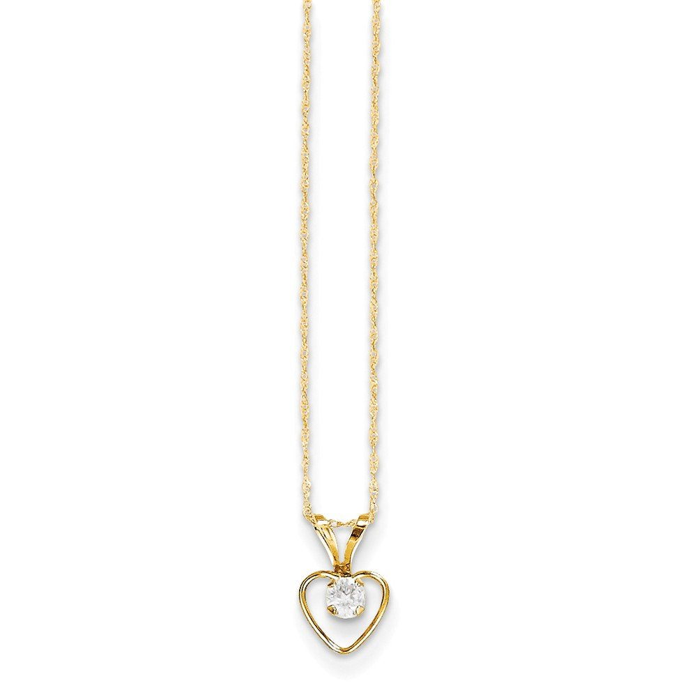Roy Rose Jewelry 14K Yellow Gold Madi K 3mm White Zircon Heart Birthstone Necklace