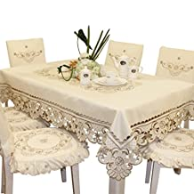 Brown flower embroidered lace dark white cream tablecloth round