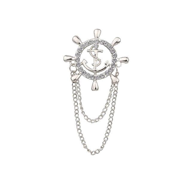 Amazon.com: JczR.Y - Broche de ancla con diamantes de ...