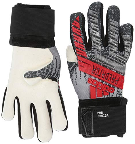 adidas Juniors Predator Pro Soccer Goalkeeper Gloves , Silver Metallic/Black  , 5 (Predator Keeper Gloves)