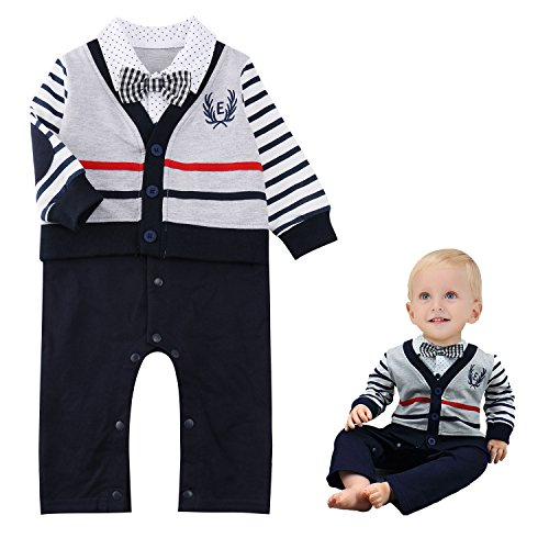 Baby Boy Romper Suits Bow Tie Baptism Party Tuxedo Jumpsuit Gentleman Onesie (Santa Outfit For Baby Boy)