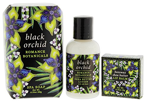 Bundle of 3 Greenwich Bay Spa Soap, 2 Ounce Lotion, & Beeswax Lip Balm Set (Black Orchid) (Spa Lip Care White)