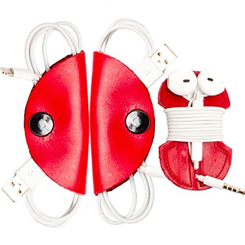 Cord Keeper (Cord Clam) & Headphone Wrap 3-Pack Handmade by Hide & Drink :: Scarlet Red
