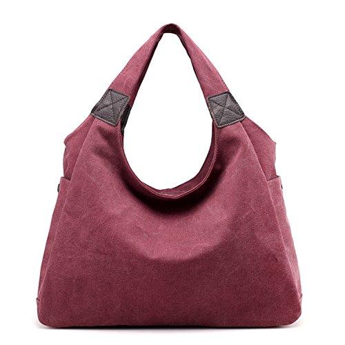 bandoulière Totes Botia à sac sac Femme ruché main Sacs à capacité Violet sac bandoulière Rouge solide Toile grande rrpZHR